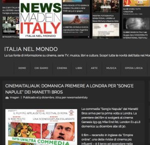 CinemaItaliaUK Song'e Napule News made in Italy